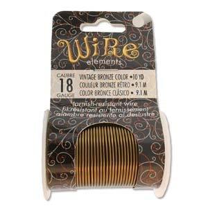 BeadSmith Wire Elements Vintage Bronze 18 ga