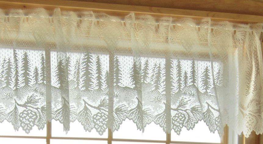 HERITAGE LACE PINECONE VALANCE-WHITE