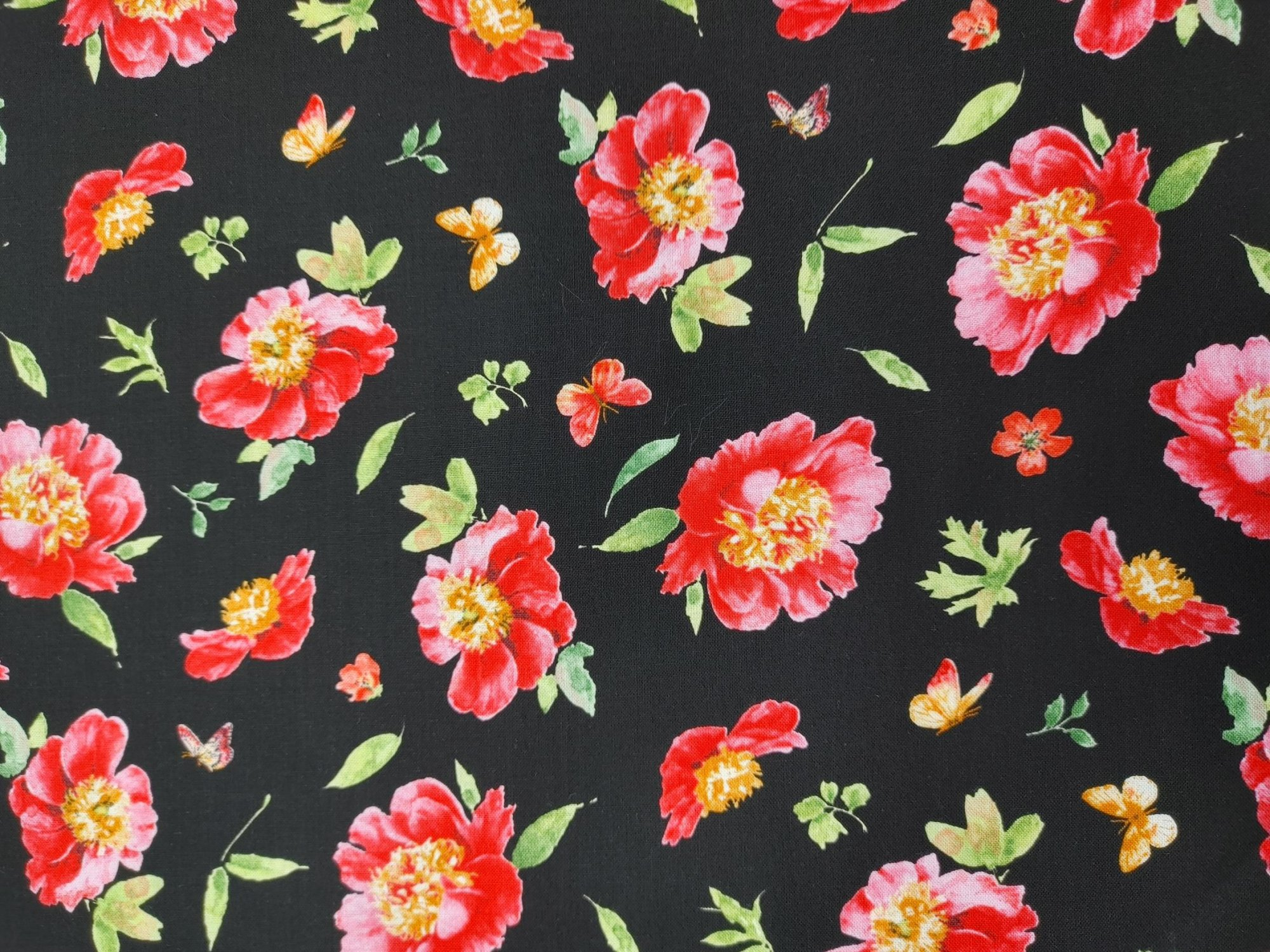Pink Garden - Flower Toss on Black