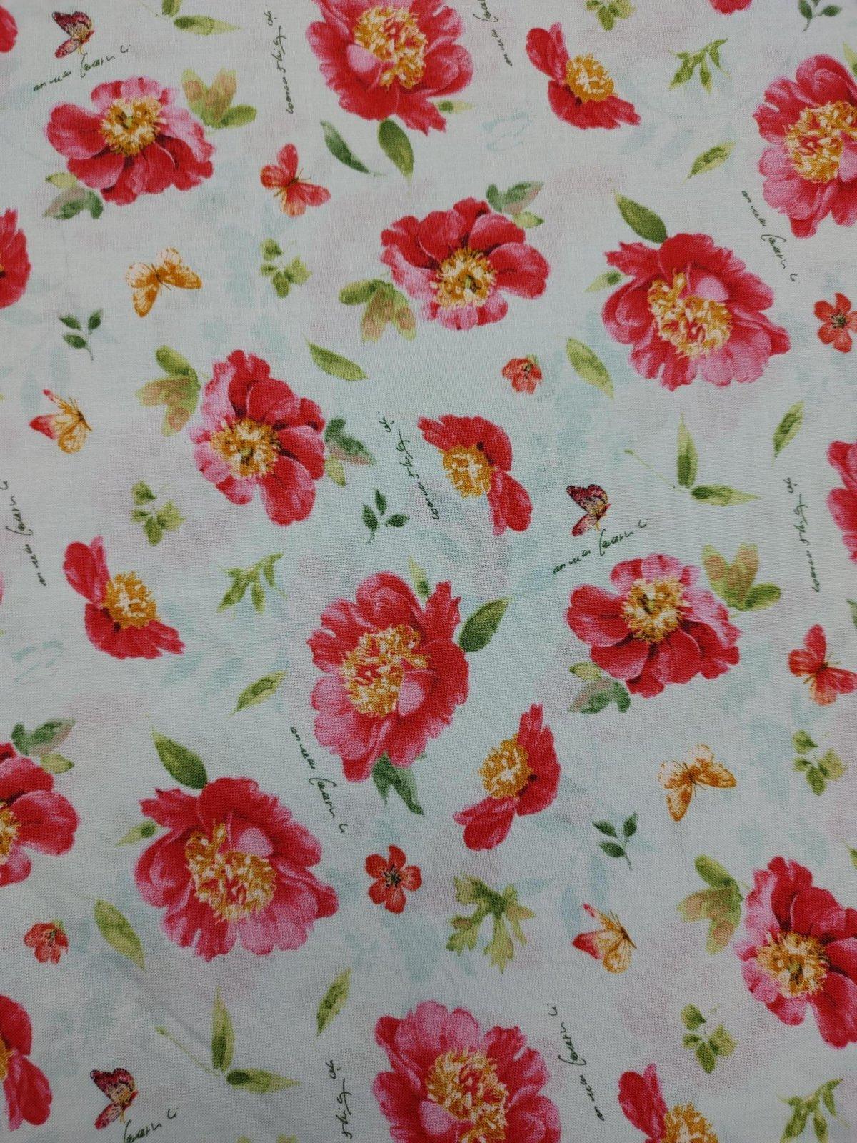 Pink Garden - Flower Toss on Mint