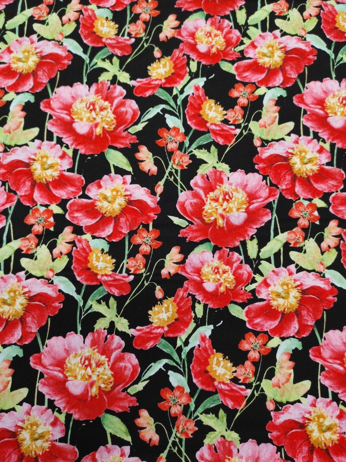 Pink Garden - Flowers on Black