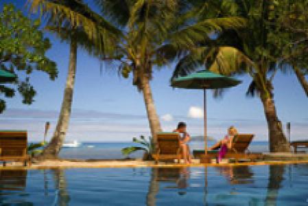 Beach resort and pool in Fiji