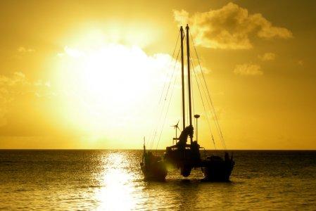 Catamaran sunset in Hawaii