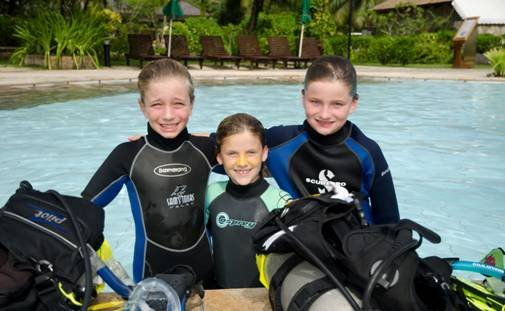 Kids suited up to dive