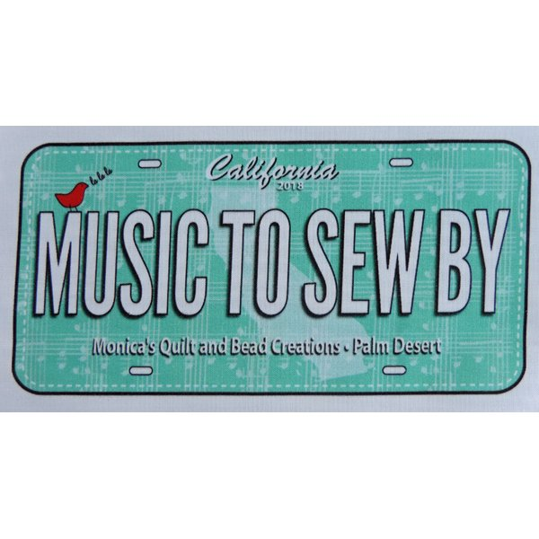 Music to Sew By Fabric License Plate