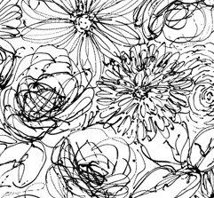 Blanc et Noir floral, white