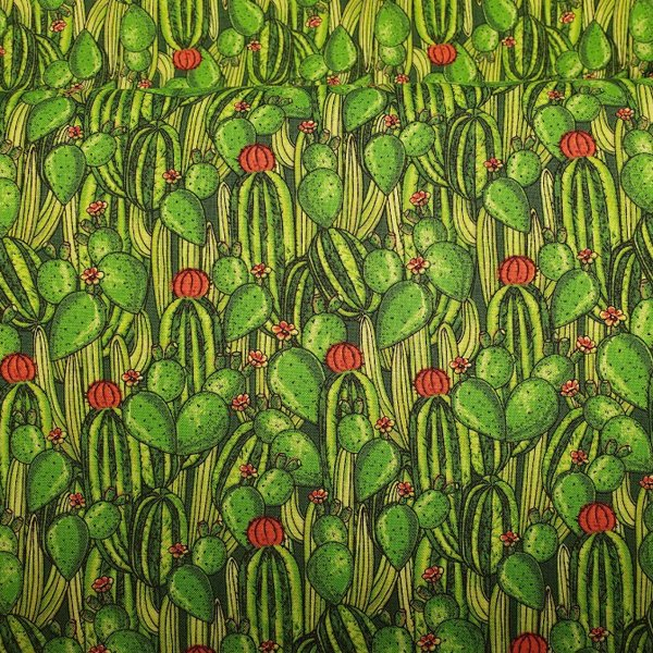 Red Rock Reflections Cactus Collage fabric