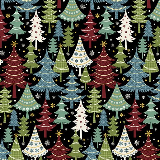 Flan Festive Trees Black/Multi