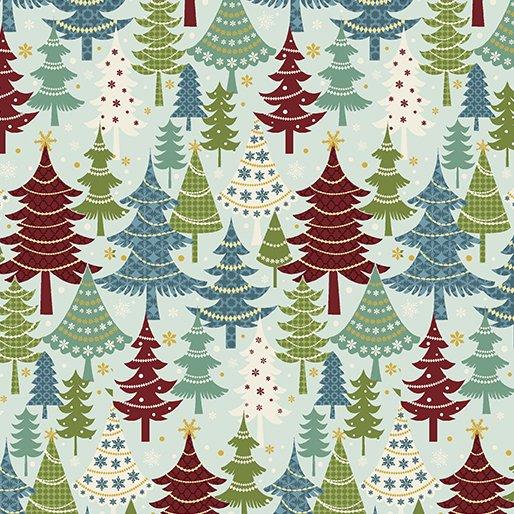 Flannel Festive Trees Turq./Multi