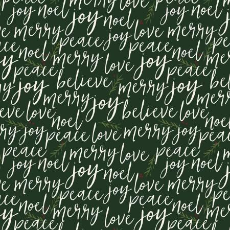 WInterberry Green/Cream Words