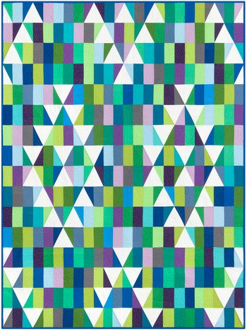 Mosaic Mountains Cool Quilt Kit Kona Cotton 60in x 80in