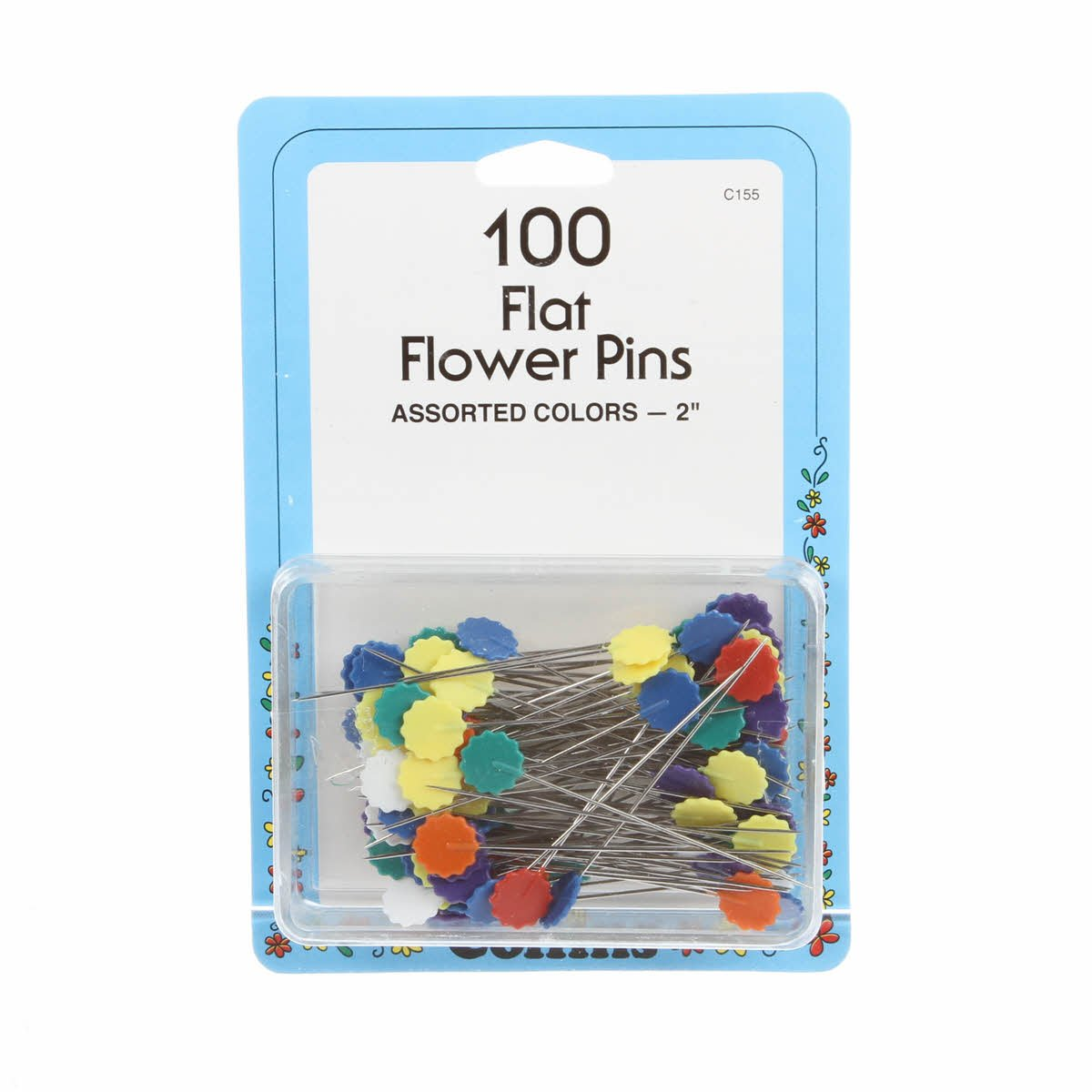 100 Flat Flower Head Pins 155c