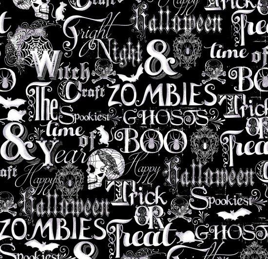23853 Halloween Fright Night Words on Black
