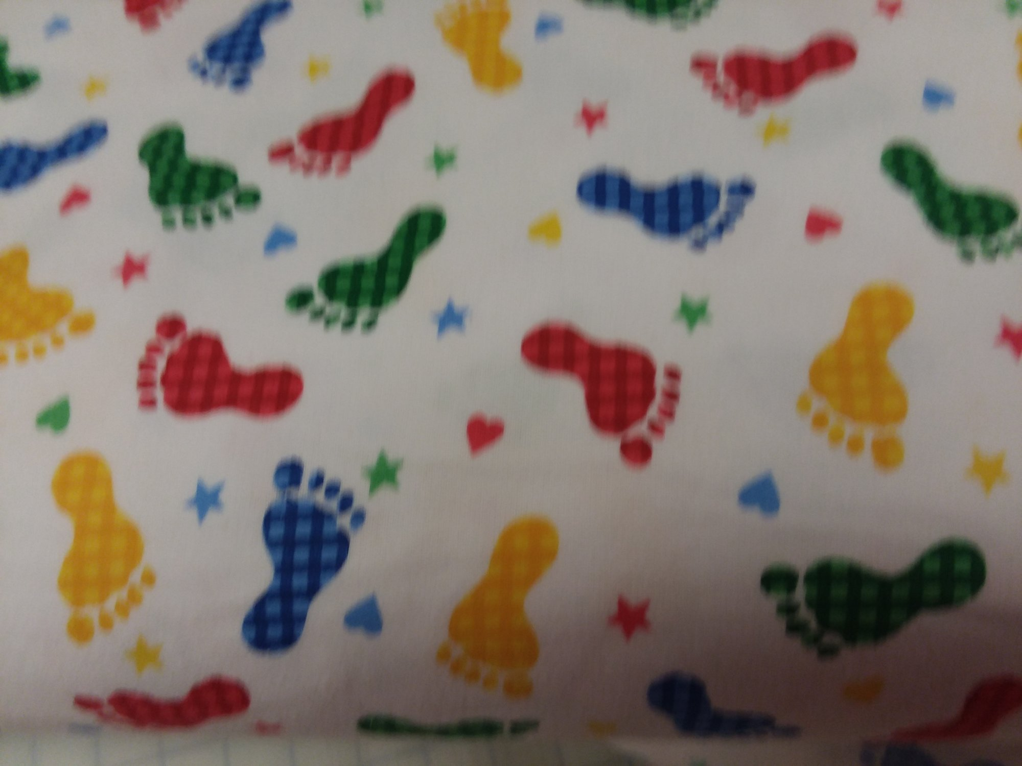 Comfy Prints Flannel - Primary Colors footprints