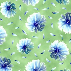 Kenzie Blue flowers on green
