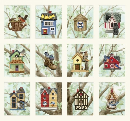 22229 Panel Beautiful Birds Housing Boom  20 x 25