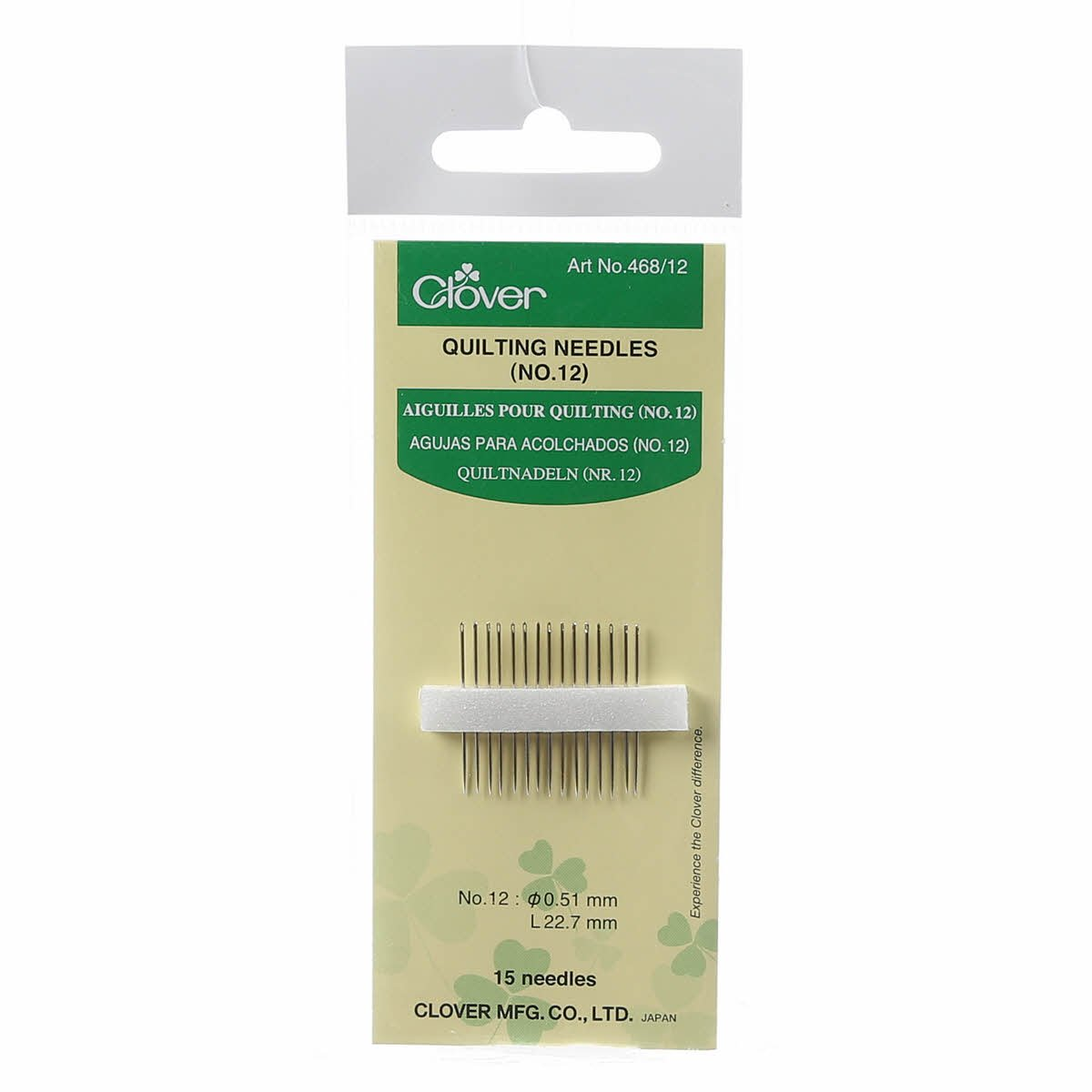 Clover Quilting Needles Sz 12 468CV-12