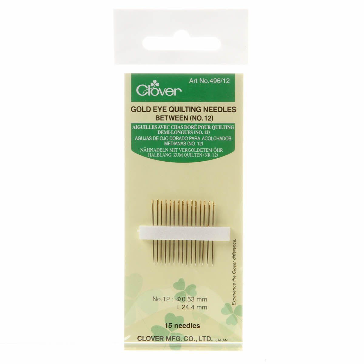 Clover Gold Eye  Quilting Needles 496CV-12
