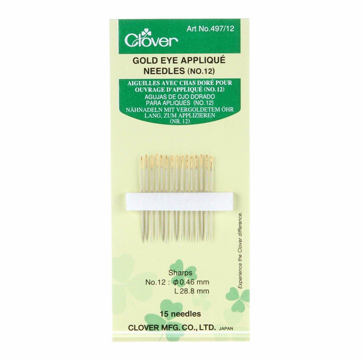 Clover Gold Eye Applique Needles 497CV-12