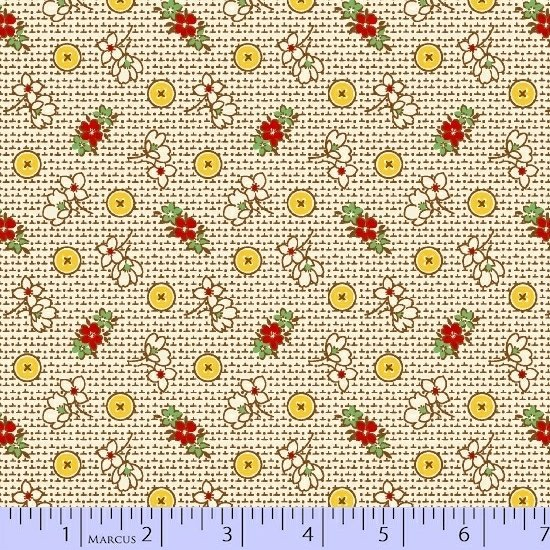 23612 Aunt Grace Posies and Yellow Buttons -12.5 yds