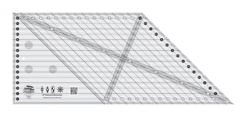 CGREU2 Creative Grids 8in 45 Degree Diamond Dimensions Ruler