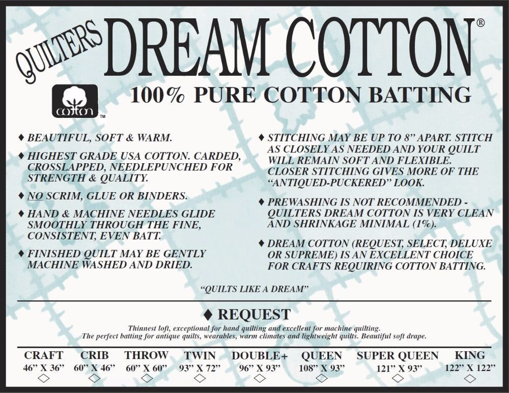 Cotton Request Natural Batting (4) Double Size