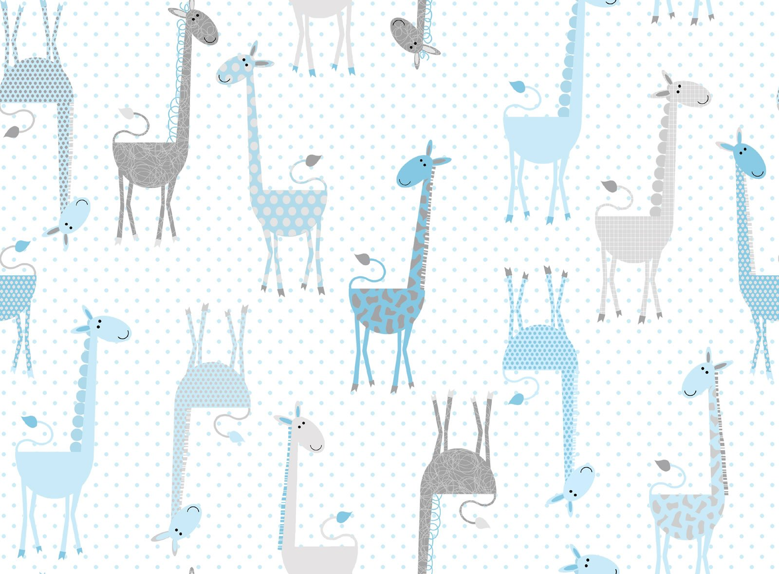 Flannel Giraffes blue-30102