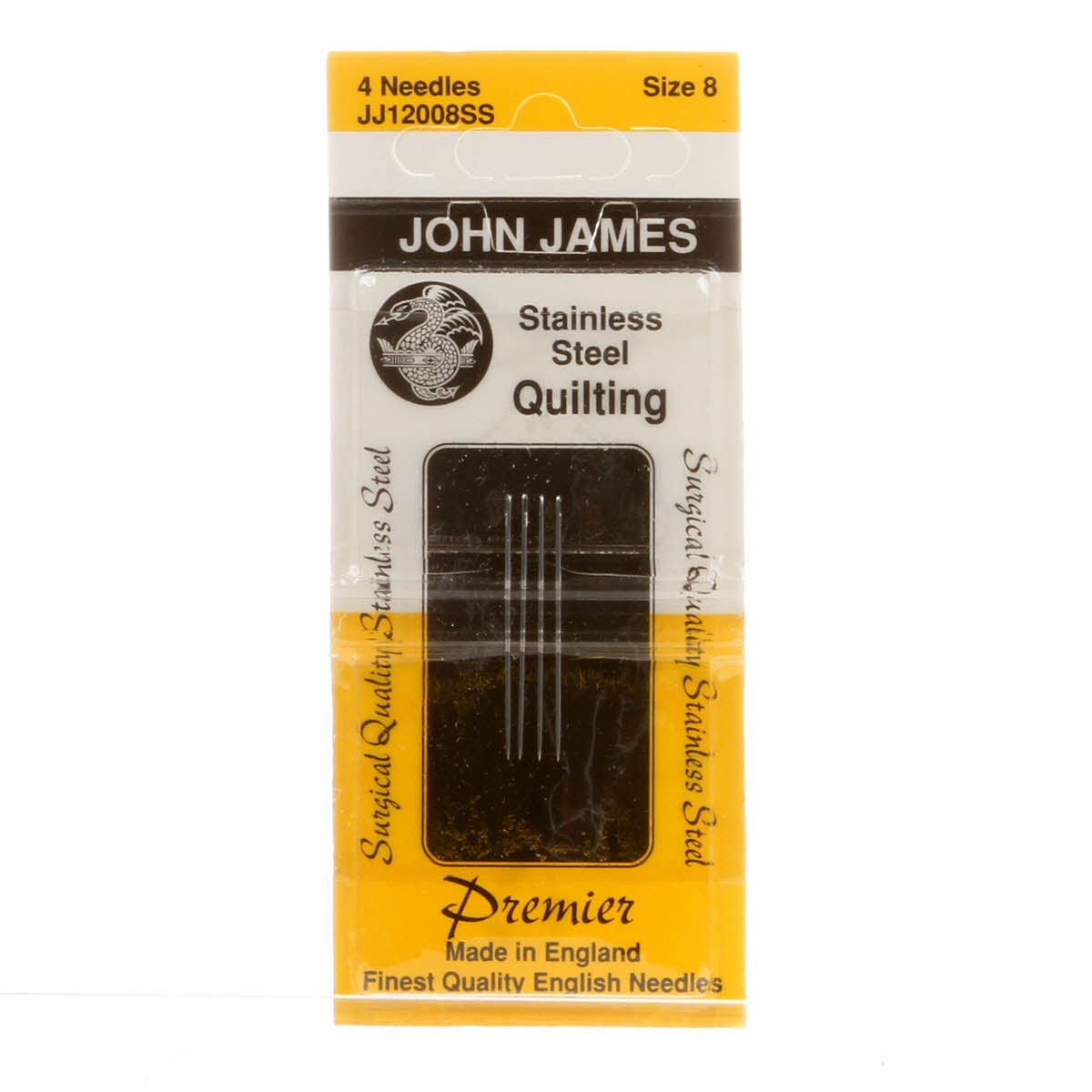 John James Needle -Quilt Sz8 Stainless Steel 4 Count Colonial Needle