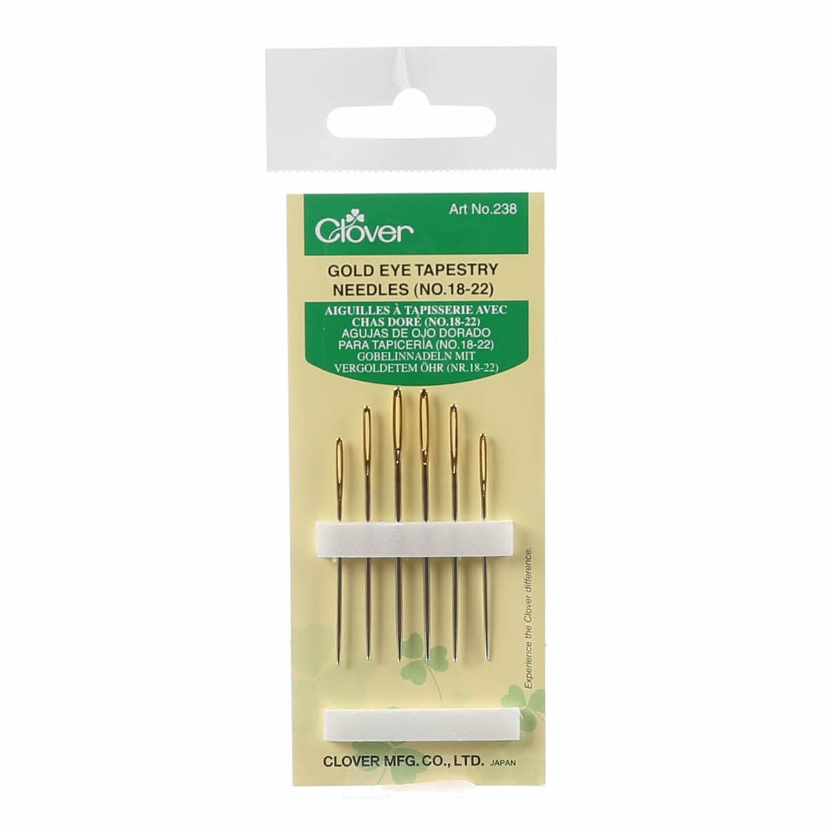 Clover Tapestry Gold Eye Needles Assorted Sizes 18-22 6ct