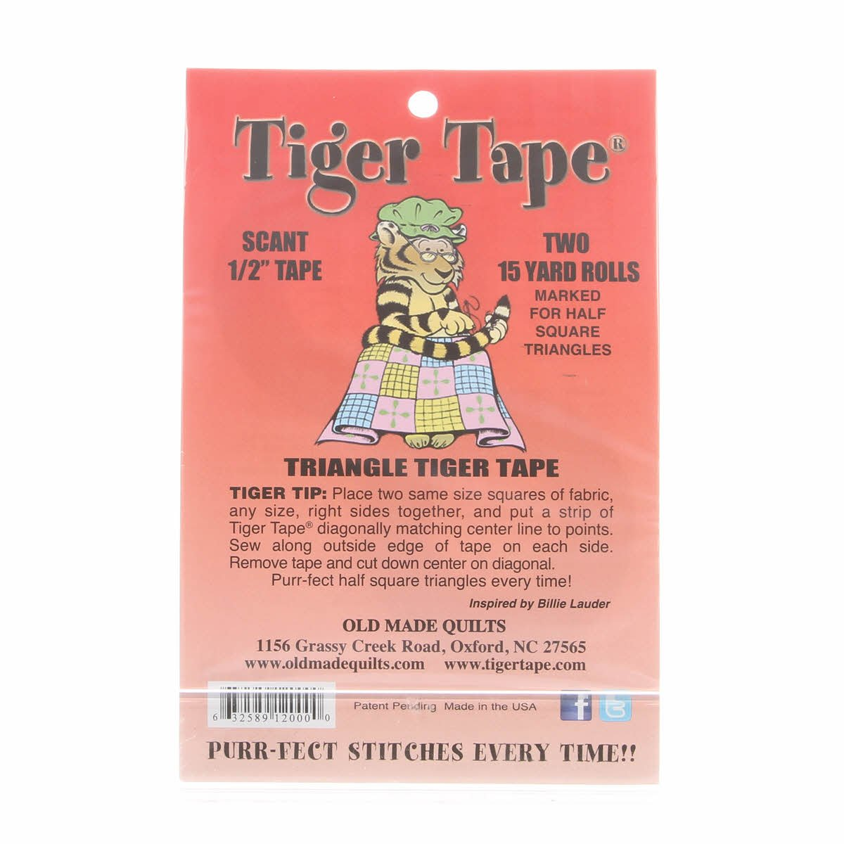 Tiger Tape Scant  1/2 Inch for Half Square Triangle Blocks
