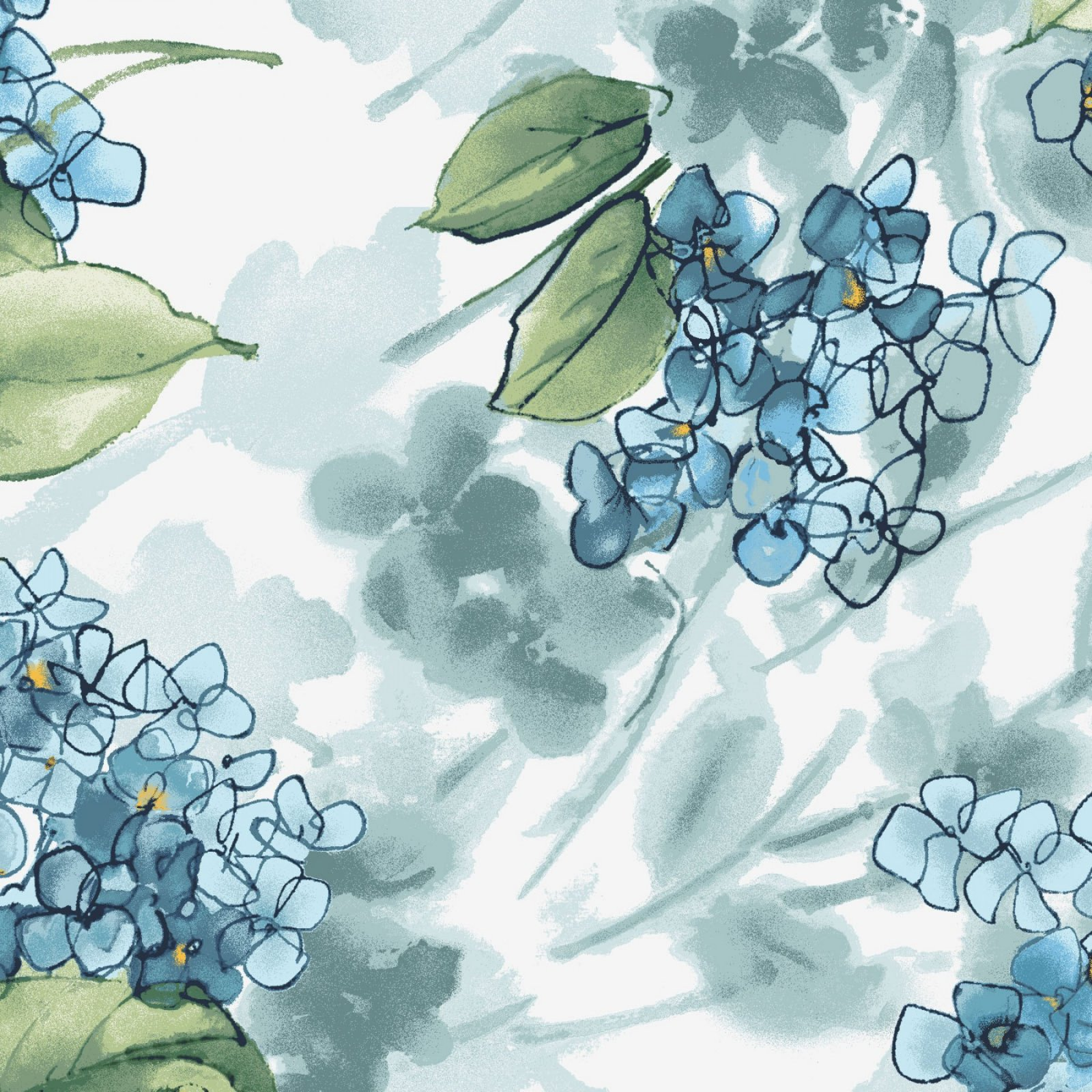 Watercolor Hydrangea blue