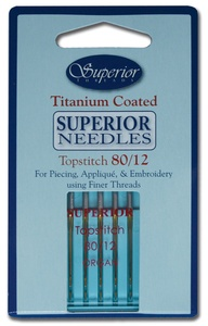 SUPERIOR Titanium-coated Topstitch Needles #80/12