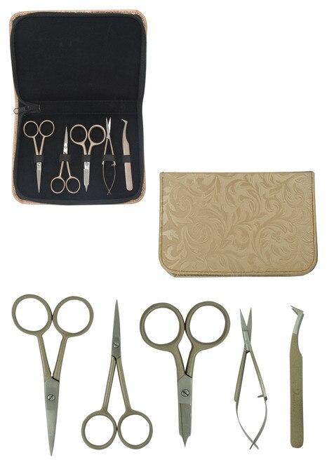 Famore SET Scissors, Snips, Tweezer SET Zippered Gold Case