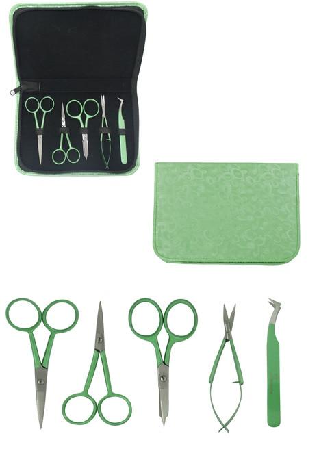 Famore SET Scissors, Snips, Tweezer SET Zippered GREEN Case