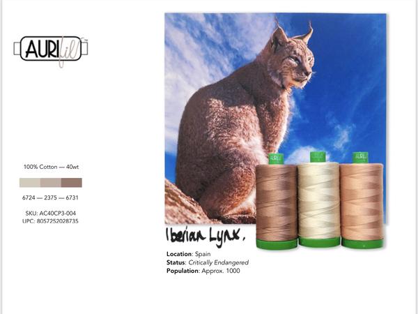 Aurifil Builders 40 wt. Mako Cotton TAUPES Iberian Lynx