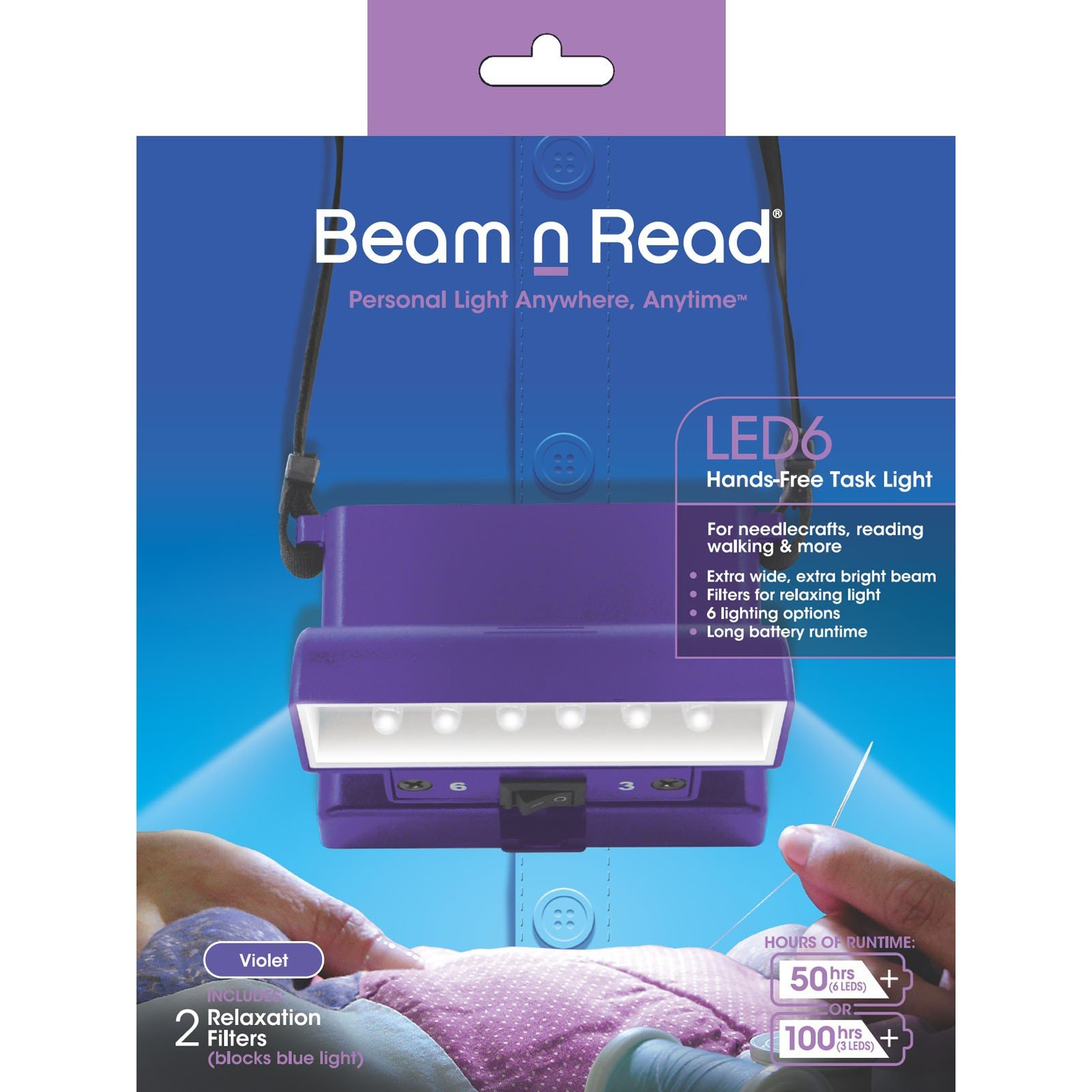 *Beam 'n Read 6 LED Light (PURPLE CASE)