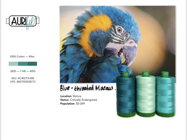 Aurifil Builders 40 wt. Mako Cotton TEALS Blue Throated Macaw