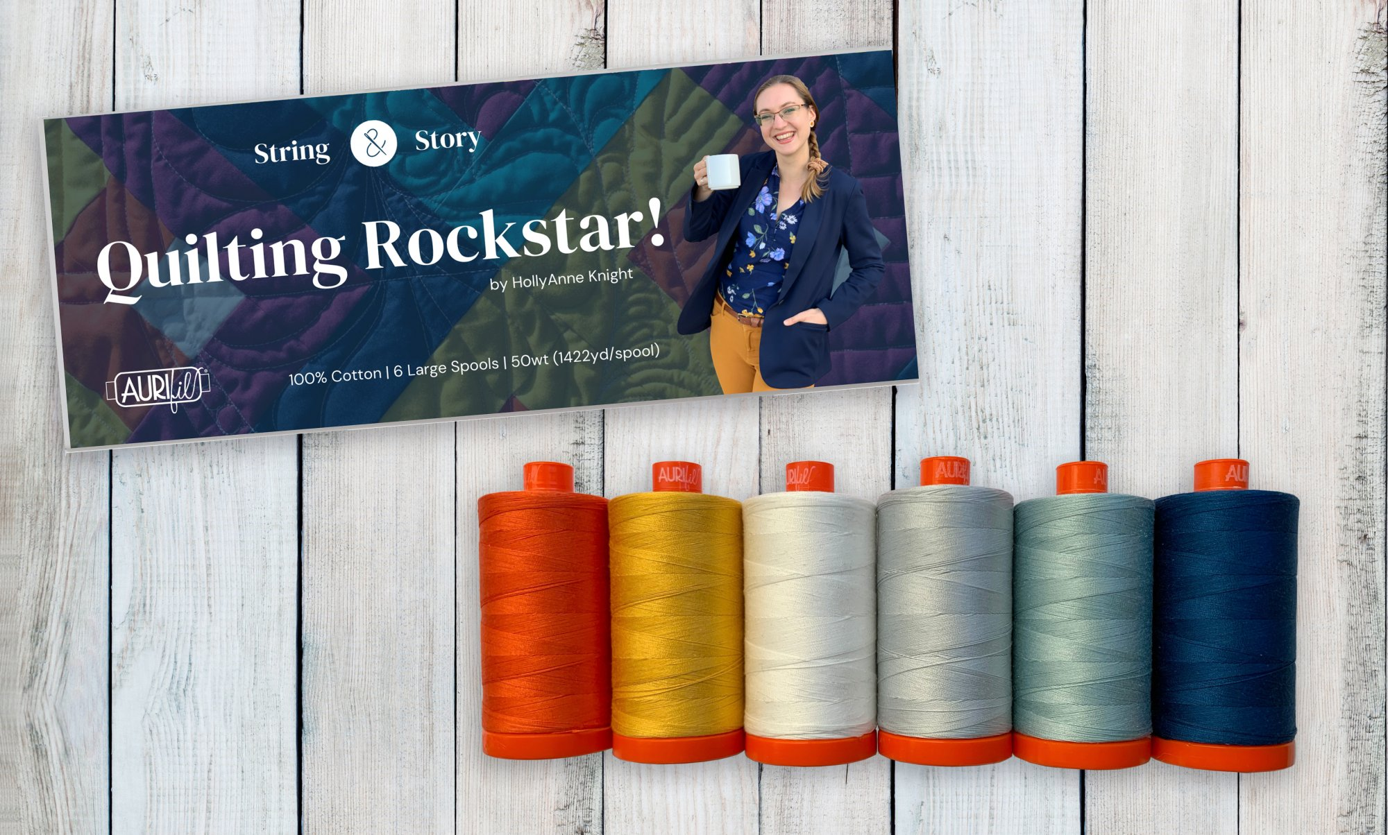 Aurifil Rockstar Collection 50 wt cotton Holly Anne Knight