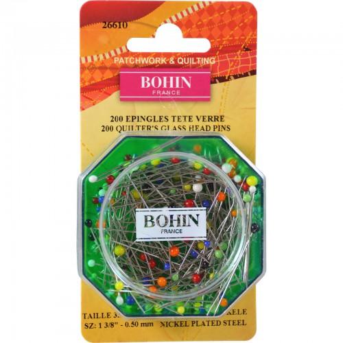 Bohin Pins Multi Colored Glass Head 200 ct