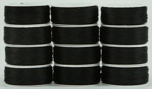 Super Bobs #50/2 MasterPiece L style prewound bobbins. 1 dz. #161 RAVEN (black)