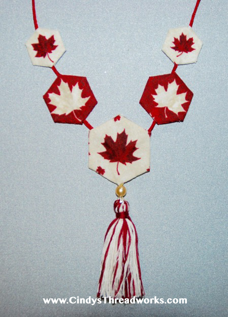 Hexie Necklace Pattern KIT (Maple Leaf Fabrics) by Cindy Scraba