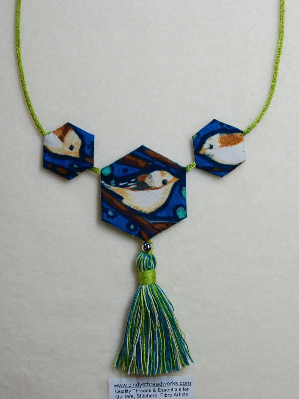 Hexie Necklace Pattern KIT (BIRD Fabric) pattern by Cindy Scraba
