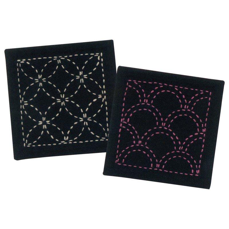 Sashiko Pre-Printed Coasters Kit (Navy)
