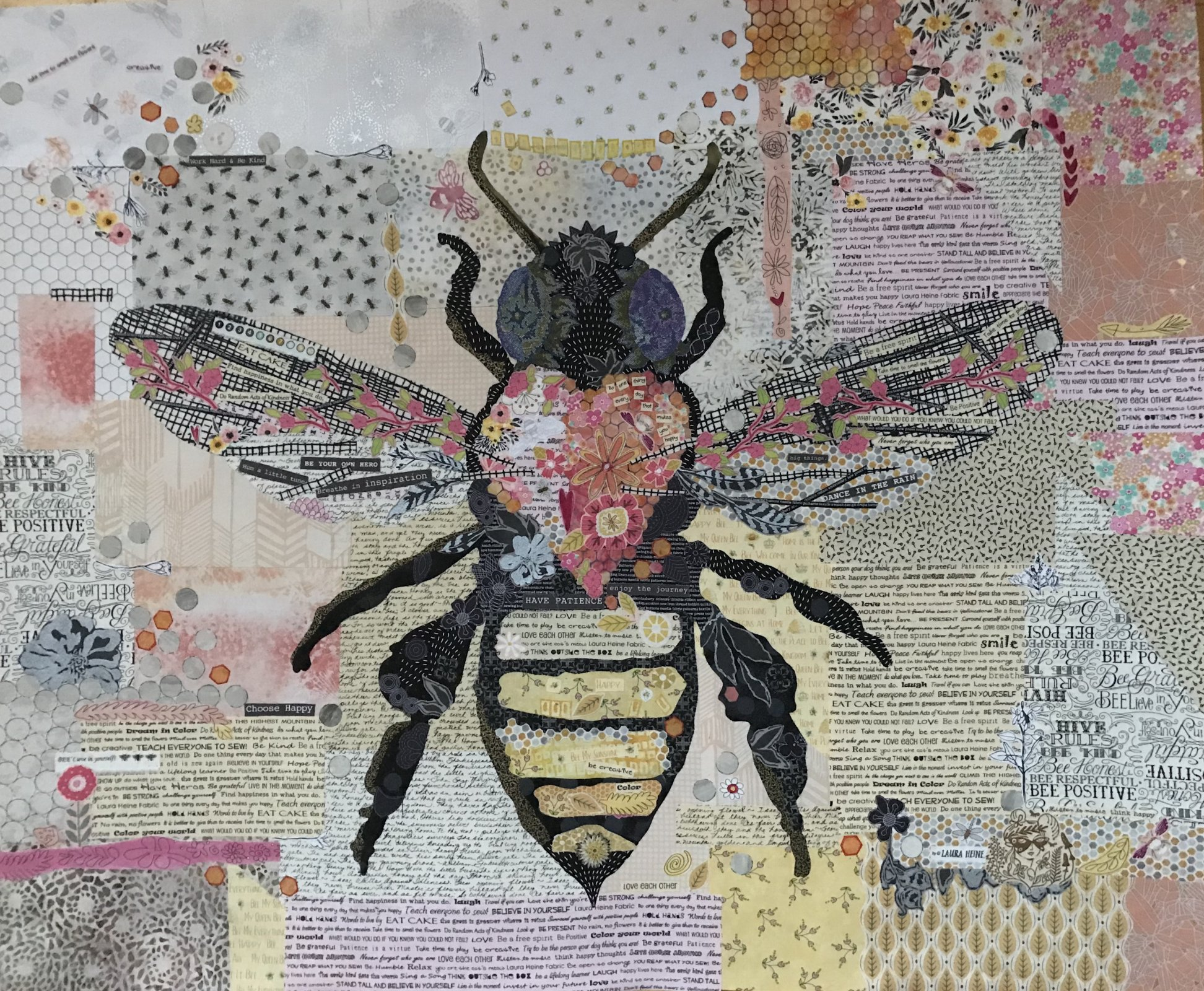 Pattern. Honey Bee Collage by Laura Heine