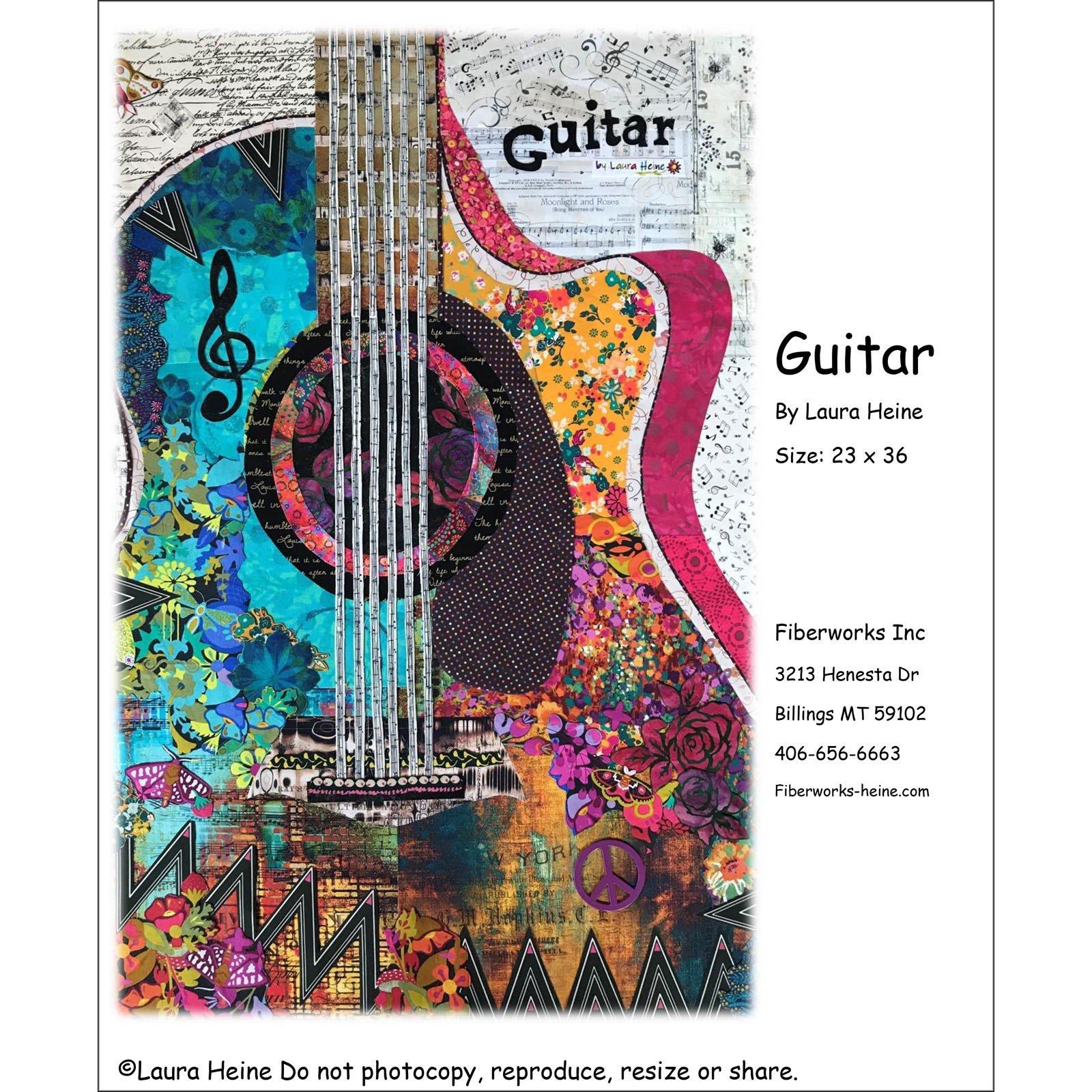 Pattern. NEW! Guitar Collage Quilt by Laura Heine