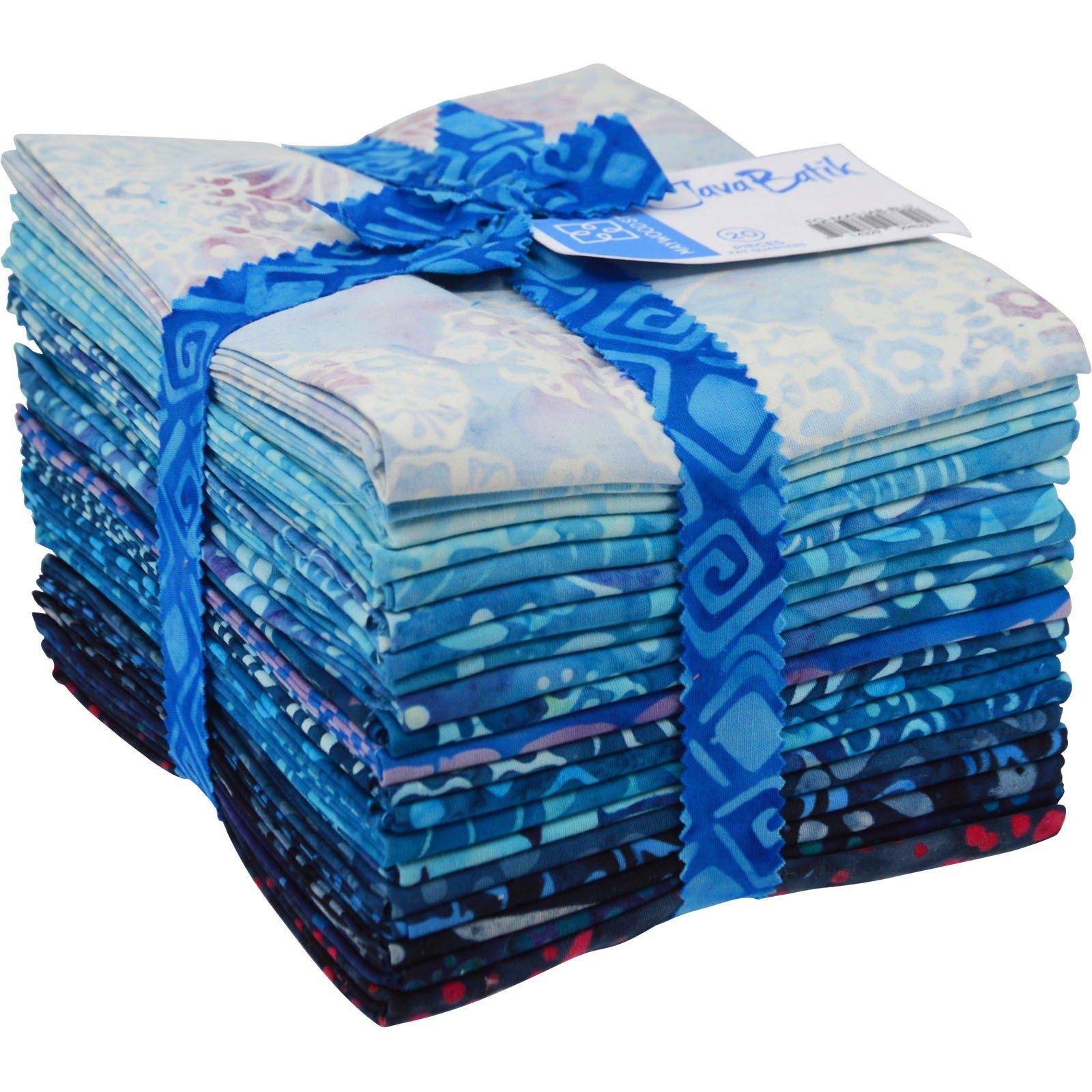 Maywood Java Batiks BLUE Print Bundles Fat Quarters (20)