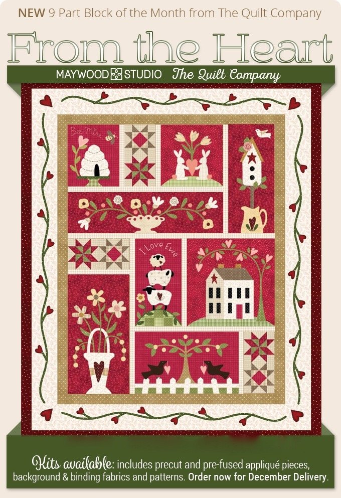 Quilt KIT! From the Heart 9 Block fusible pre-cut laser applique fabrics included!