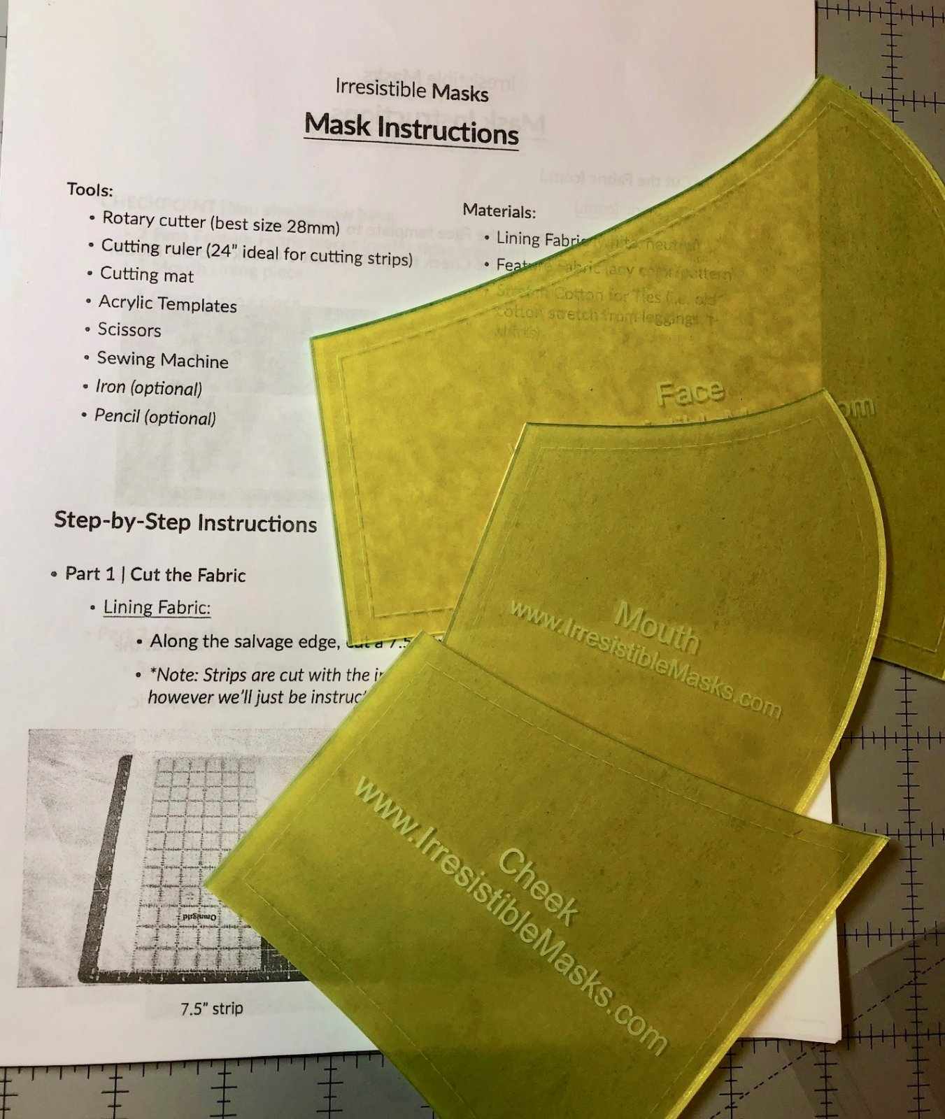 Pattern. Face Mask TEMPLATES/Ruler & Instructions