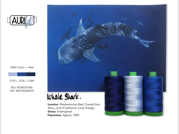Aurifil Builders 40 wt. Mako Cotton BLUES Whale Shark