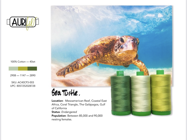 Aurifil Builders 40 wt. Mako Cotton GREENS Sea Turtle